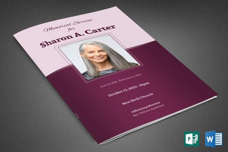 Sugar Plum Funeral Program Word Publisher Template