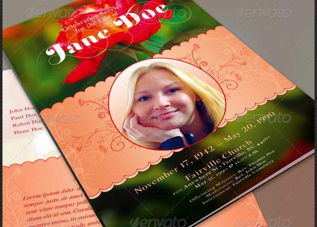 Roses Funeral Program Template
