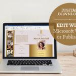 Golden Funeral Program Word Publisher Large Template