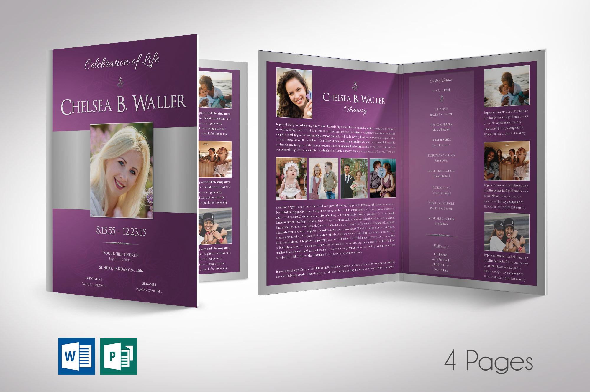 Lavender Regal Tabloid Funeral Program Word Publisher Template