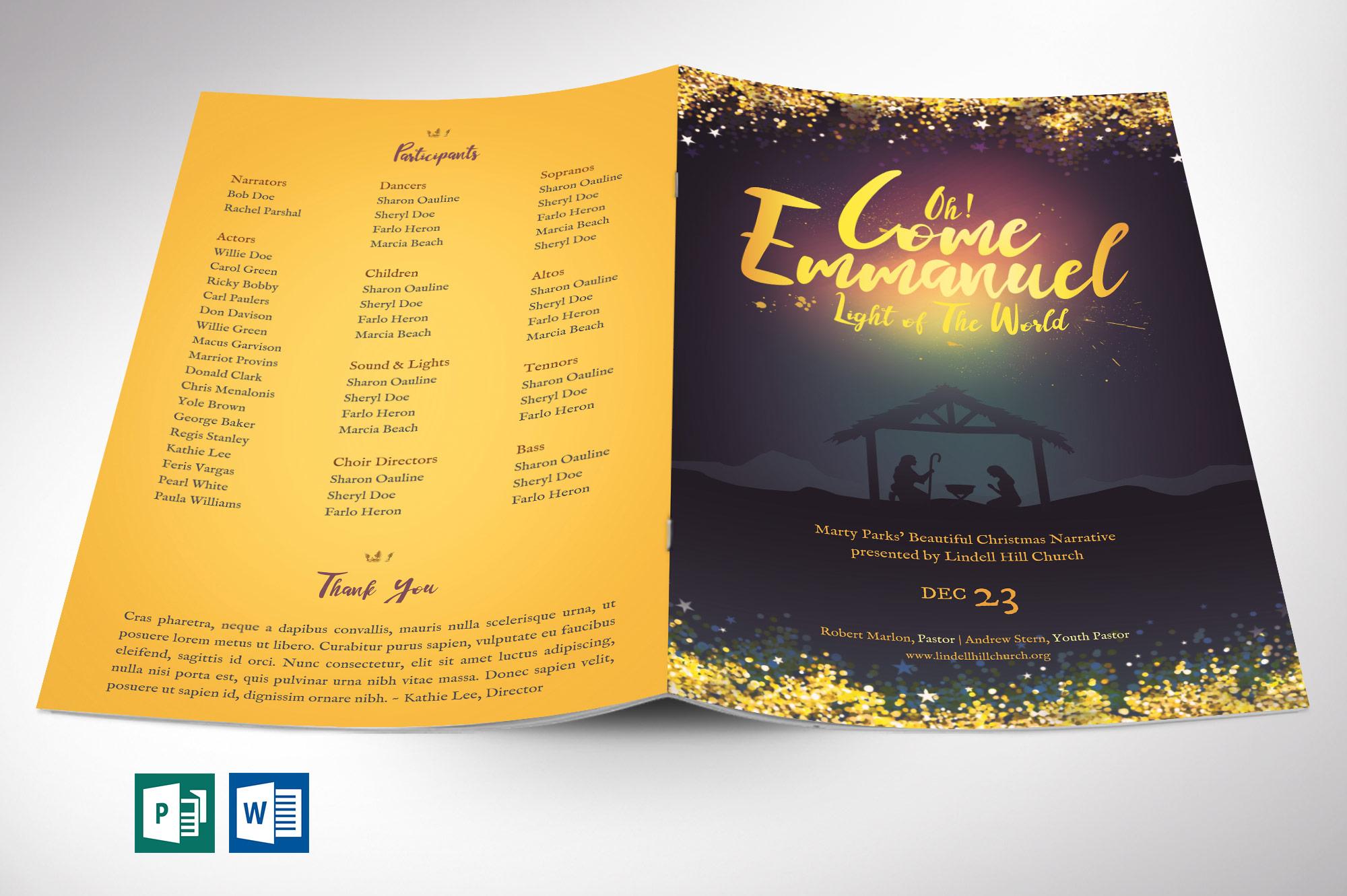 Emmanuel Christmas Program Word Publisher Template